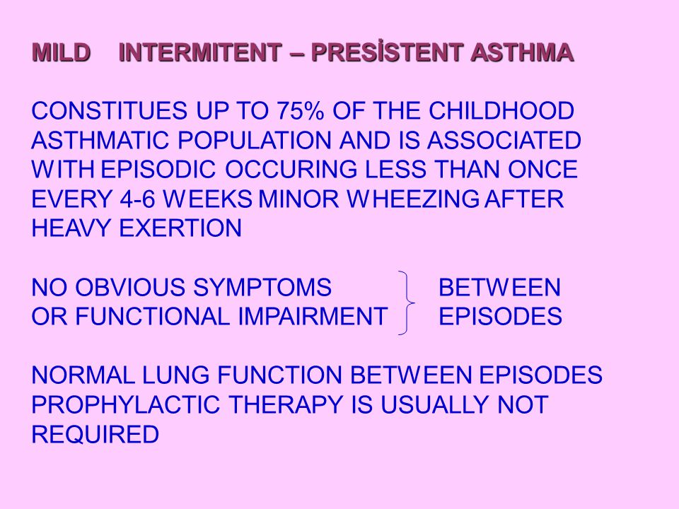 MODERATE ASTHMA FREQUENT EPISODIC ASTHMA CONSTITUES ABOUT 20% OF THE ASTHMA POPULATION AND IS ASSOCIATED WITH SOME WHAT MORE FREQUENT ATTACK AND WHEEZE ON MODERATE EXERCISE, BUT IS PREVENT BY PREDOSING WITH A B2 AGONIST.