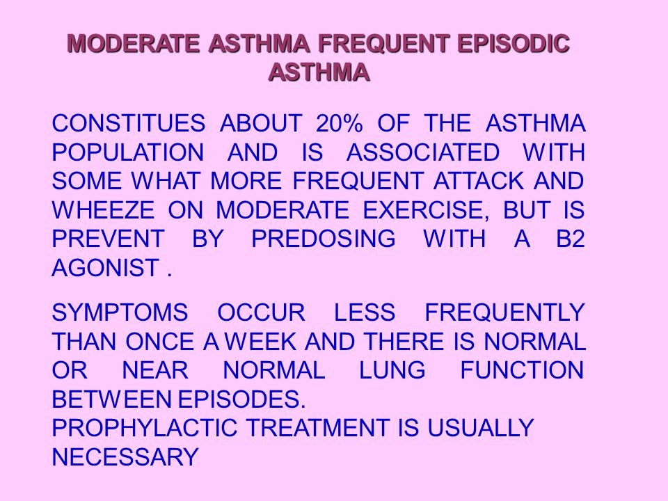 SEVERE ASTHMA PERSISTENT ASTHMA AFFECTS ROUGHLY 5% CHILDREN WITH ASTHMA AND IS ASSOCIATED WITH FREQUENT ACUTE EPISODES, WHEEZING WITH MINOR EXERTION, AND INTERVAL SYMPTOMS REQUIRING B2 AGONIST DRUGS MORE THAN 3 TIMES A WEEK BECAUSE OF EITHER NIGHT WAKENING OR CHEST TIGHTNESS IN THE MORNING.