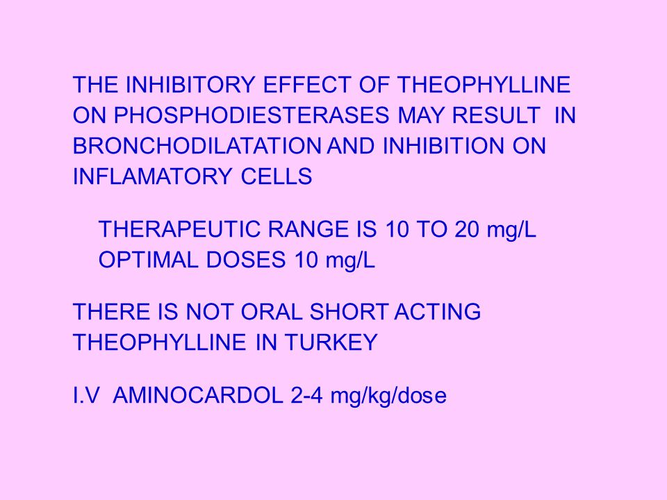 Theo-Dur100-200-300 mg Talotren200-300 mg Theo-Kap100-200-300 mg SLOW-RELEASE PREPARATIONS SIDE EFFECT: NAUSEA, VOMITING, GASTRIC DISCOMFORT, HEADACHES CARDIAC ARRYHYTMIAS, EPILEPTIC SEIZURES
