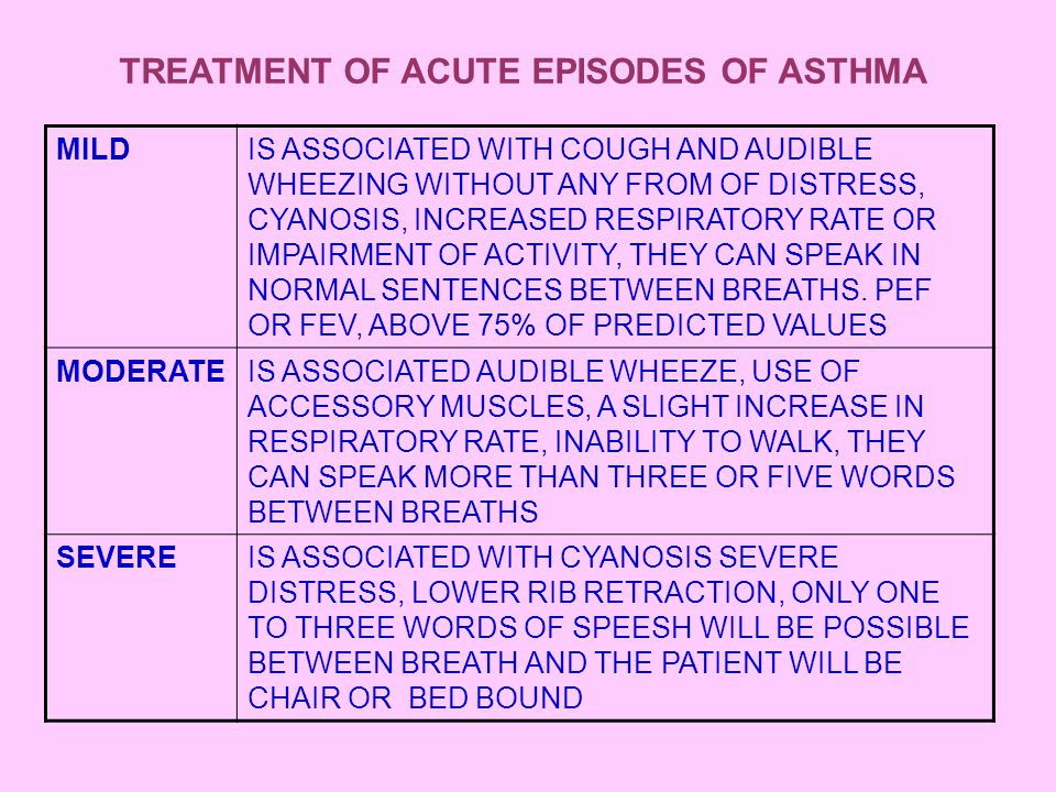 TREATMENT OF ACUTE EPISODES OF ASTHMA INHALED  2 AGONIST MDI (with or without a spacer) MILD4-6 hFOR24-36 h IF THERE IS RAPIDIF THERE IS NO IMPROVEMENT ADDED IMPROVEMENTIPRATROPIUM BROMIDE (by nebulizer) SEND TO HOMEOR HIGHER DOSES OF  2 AGONIST IF THERE IS INCOMPLETE RESPONSE OR RELAPS OF SYMPTOMS WITHIN 4 h MODERE ADDED ORAL CORTICOSTEROID (1-2 mg) IF THERE IS NO IMPROVEMENT AFTER 3 DOSES OF  2 AGONIST HOSPITALIZED NEBULIZED  2 AGONIST + OXYGEN SEVERE I.V HYDROCORTIZONE (4 mg/kg) EVERY 4-6 h IF THERE IS NOT IMPROVEMENT ADMISSION TO INTENSIVE CARE ADDED I.V AMINOPHYLLINE IF THERE IS NOT IMPRAVEMENT MECHANICAL VENTILATION