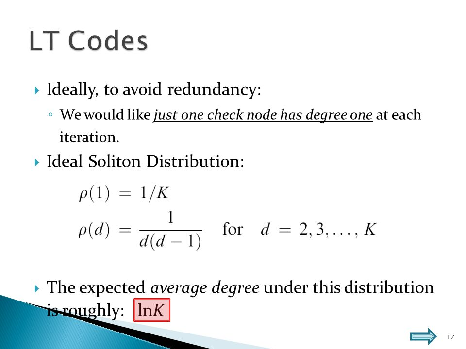  In practice, this distribution works poorly: ◦ Fluctuations around the expected behavior:  Sometimes in the decoding process there will be no degree-one check node.