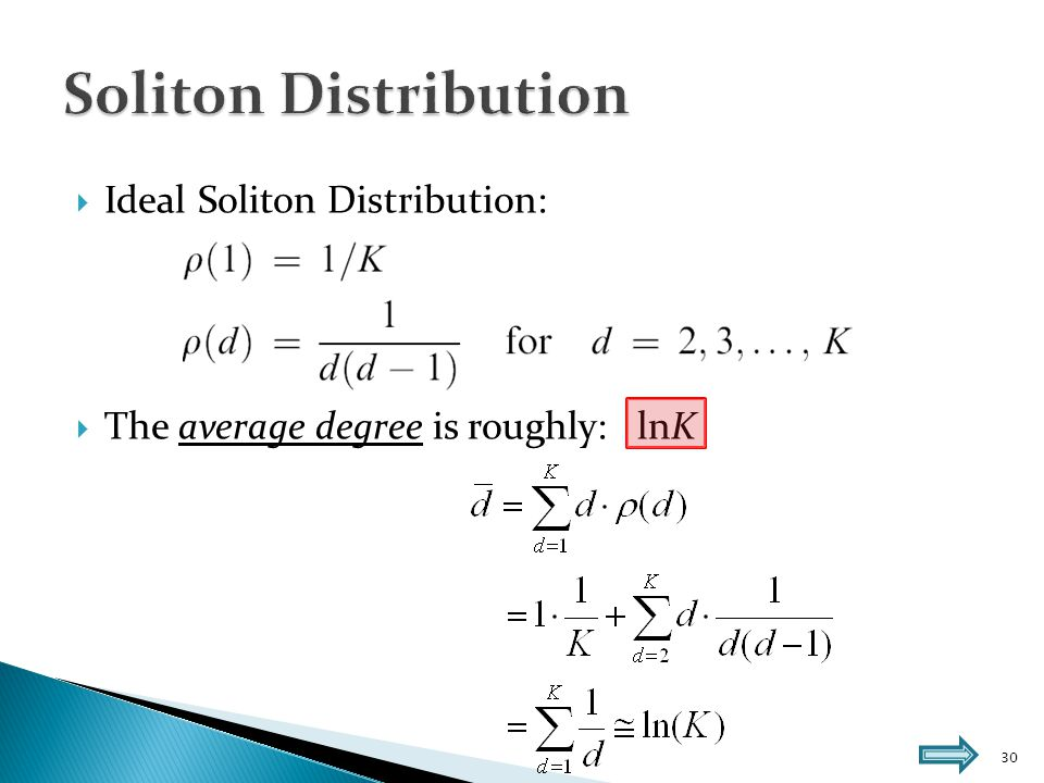 31  Robust Soliton Distribution μ:  The average degree is roughly: lnK, where