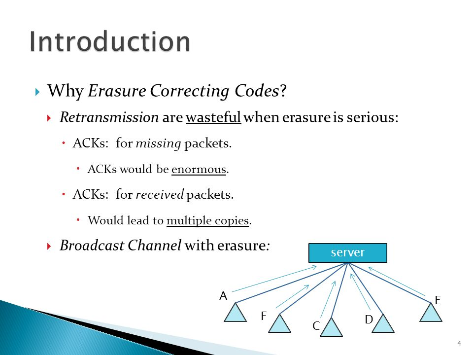  Erasure Correcting Codes:  Block Code, such as (N, K) Reed-Solomon Code:  Any K of the N transmitted symbols are received, then the original K source symbols can be recovered.