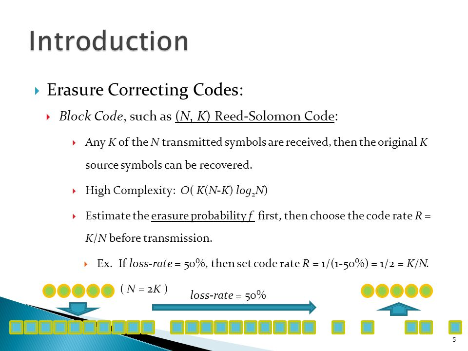  Erasure Correcting Codes:  Block Code, such as (N, K) Reed-Solomon Code:  If f is larger than expected (decoder receives fewer than K symbols):  Ex.