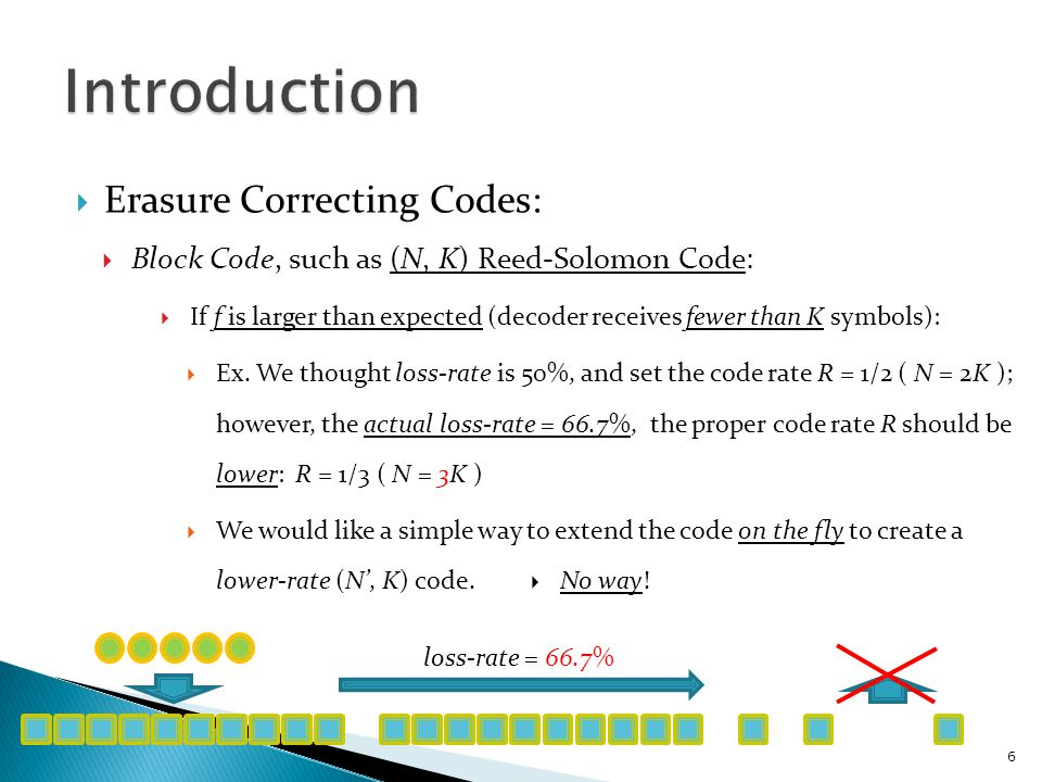  Fountain Codes are rateless:  The number of encoded packets generated can be determined on the fly.