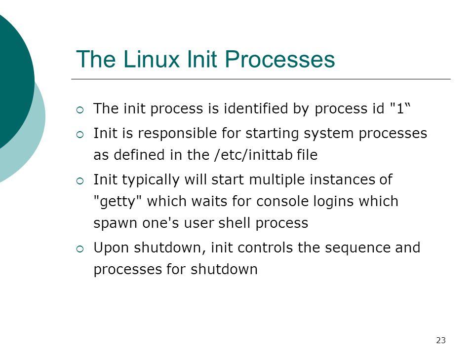 24 System processes Process IDDescription 0The Scheduler 1The init process 2kflushd 3kupdate 4kpiod 5kswapd 6mdrecoveryd