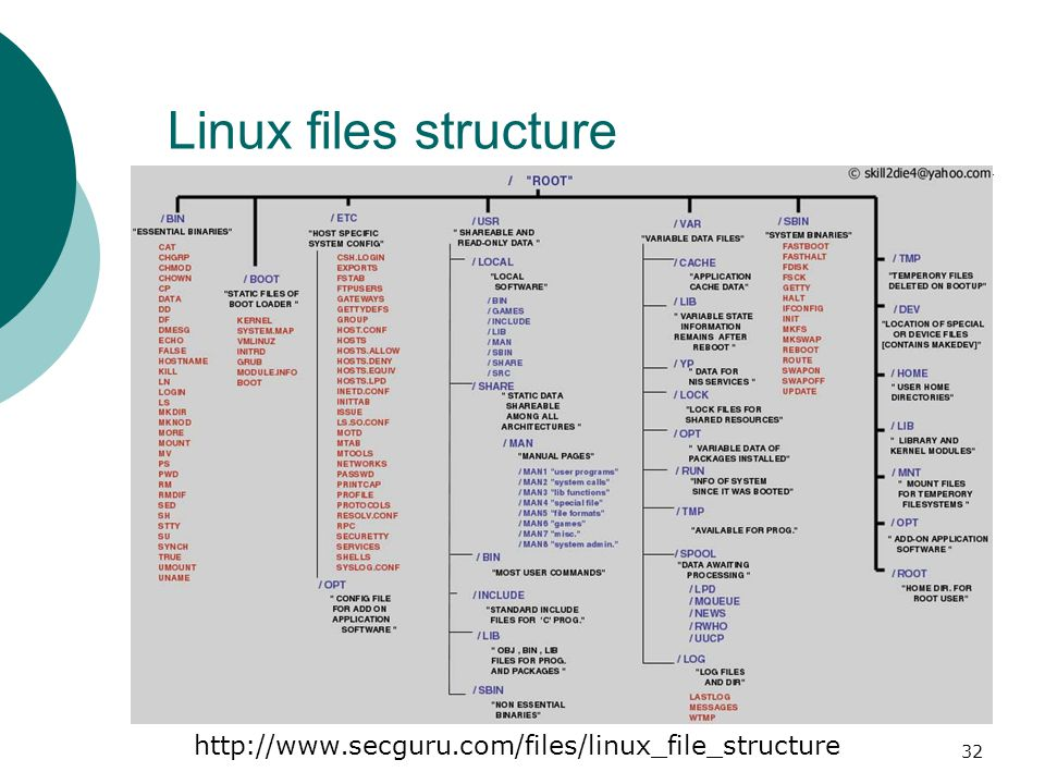 33 FSSTND : (Filesystem standard)  All directories are grouped under the root entry /  root - The home directory for the root user  home - Contains the user s home directories along with directories for services ftp HTTP samba