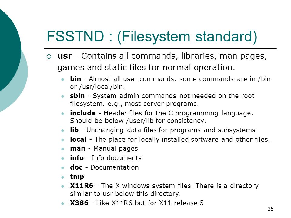 36 FSSTND : (Filesystem standard)  boot - Files used by the bootstrap loader, LILO.