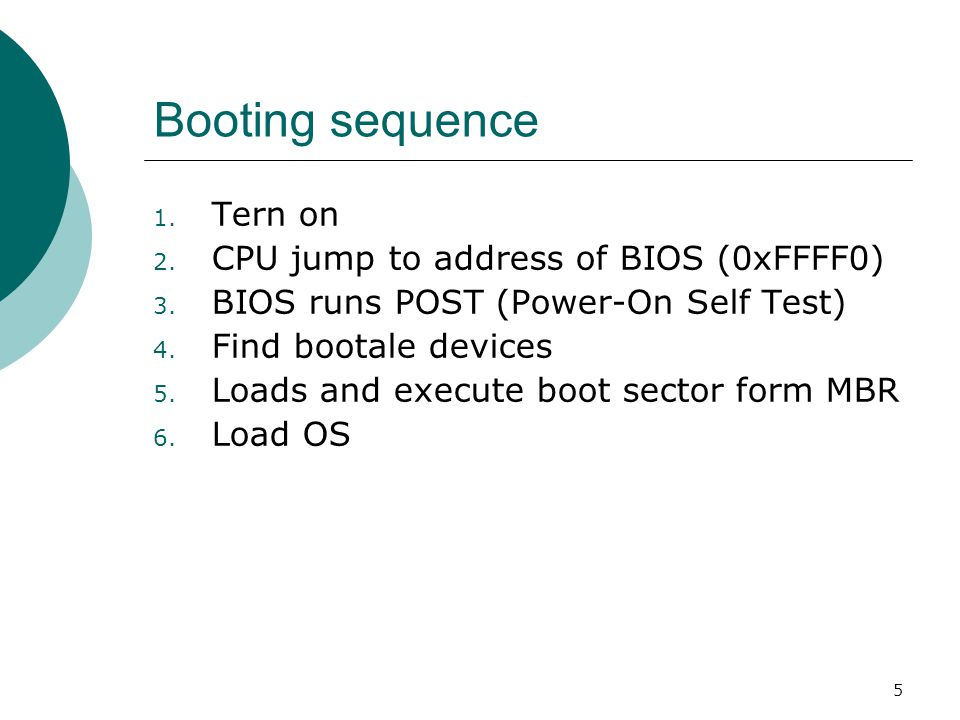 6 BIOS (Basic Input/Output System)  BIOS refers to the software code run by a computer when first powered on  The primary function of BIOS is code program embedded on a chip that recognises and controls various devices that make up the computer.