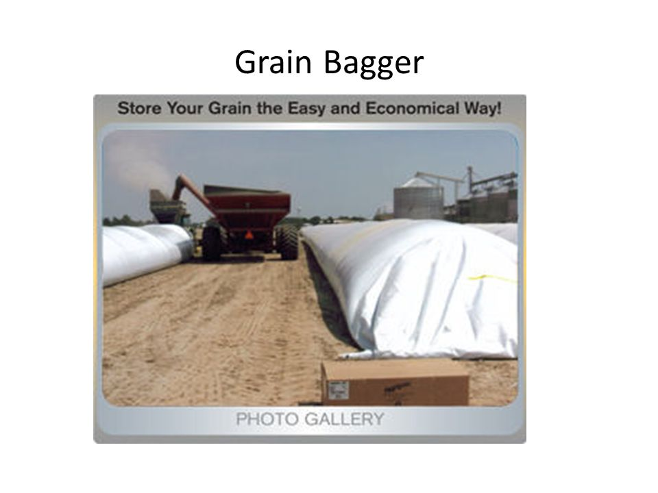 Potential Problems with Bags Not safe from animal damage Potential leakage of water into bags Cannot aerate or treat once bagged Not for long term storage Cost about $600 per bag Can store about 8,000 bushels per bag Perfect for short term storage