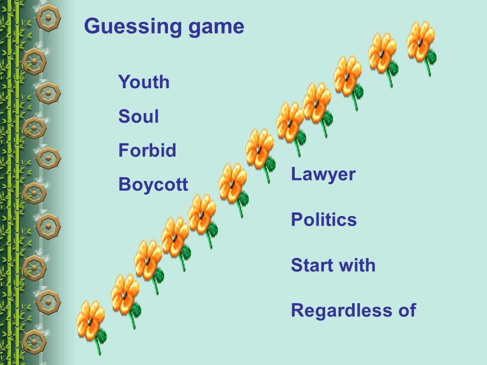Guessing game Youth Soul Forbid Boycott Lawyer Politics Start with Regardless of