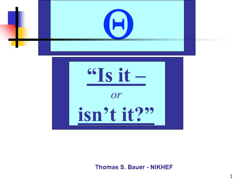 Th. S. Bauer - NIKHEF 2 Is it – or isn't it? Thomas S. Bauer - NIKHEF 