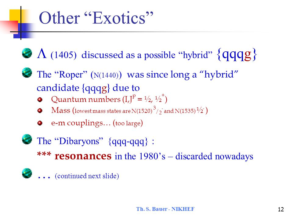 Th.S. Bauer - NIKHEF 13 A special case: H The H  {uu-dd-ss} predicted in 1977 by R.
