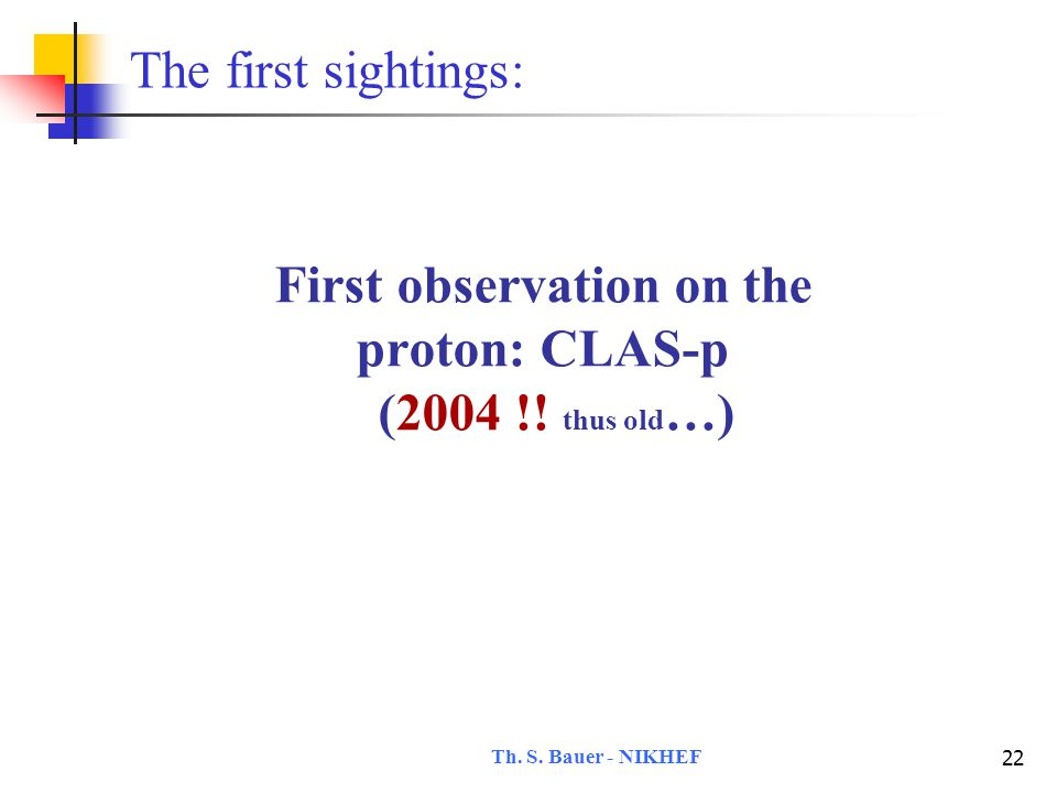 Th.S. Bauer - NIKHEF 23 First observation on the proton: CLAS-p  p→K -  + K + (n) V.