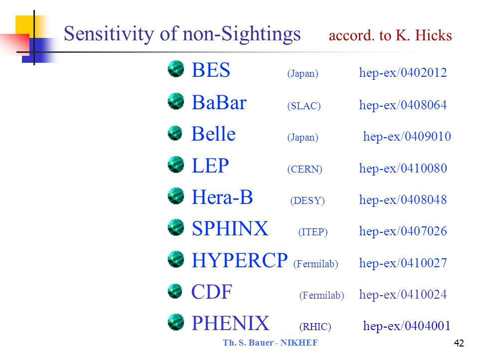 Th.S. Bauer - NIKHEF 43 Sensitivity of non-Sightings accord.