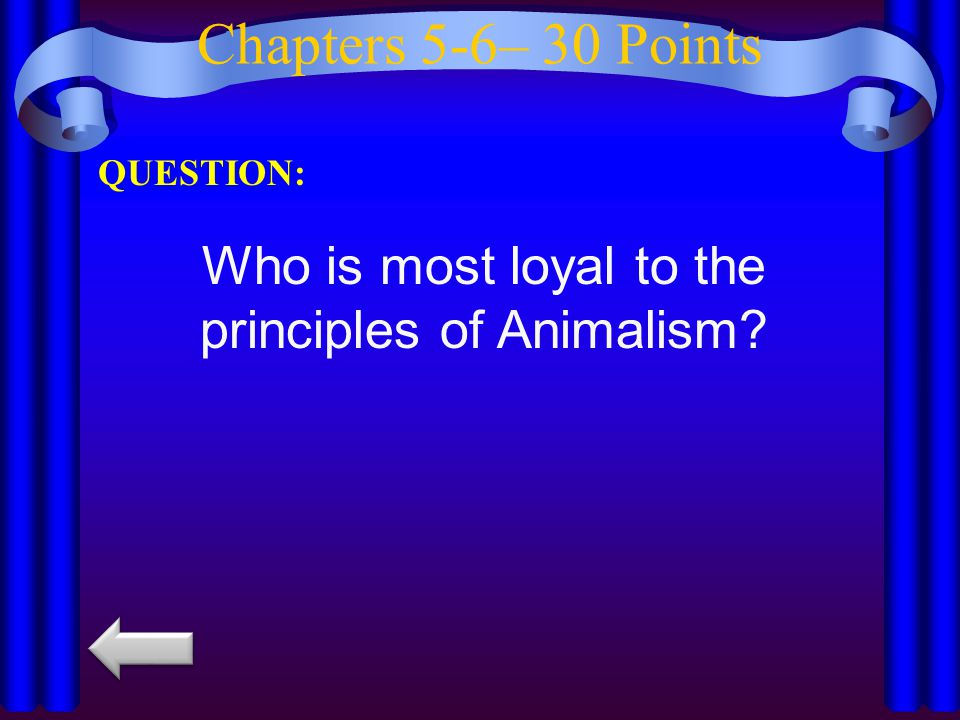 Chapters 5-6– 40 Points QUESTION: What is destroyed in chapter six? Who is allegedly responsible?