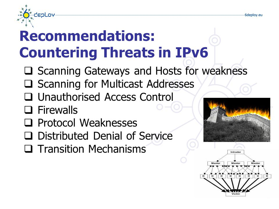 Scanning Multicast Addresses  IPv6 supports new multicast addresses enabling attacker to identify key resources on a network and attack them  E.g.