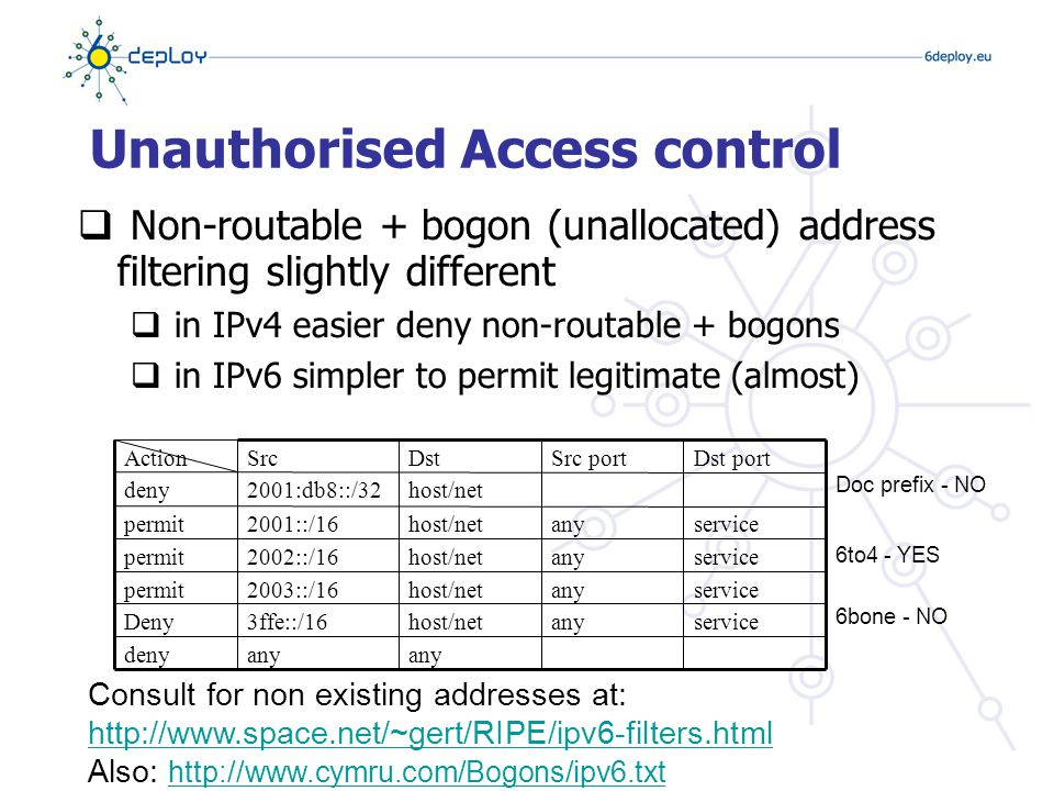 Spoofing  IPv6 address are globally aggregated making spoof mitigation at aggregation points easier to deploy  Simpler to protect due to IPv6 address hierarchy  However host part of the address is not protected  You need IPv6 MAC address (user) mapping for accountability!