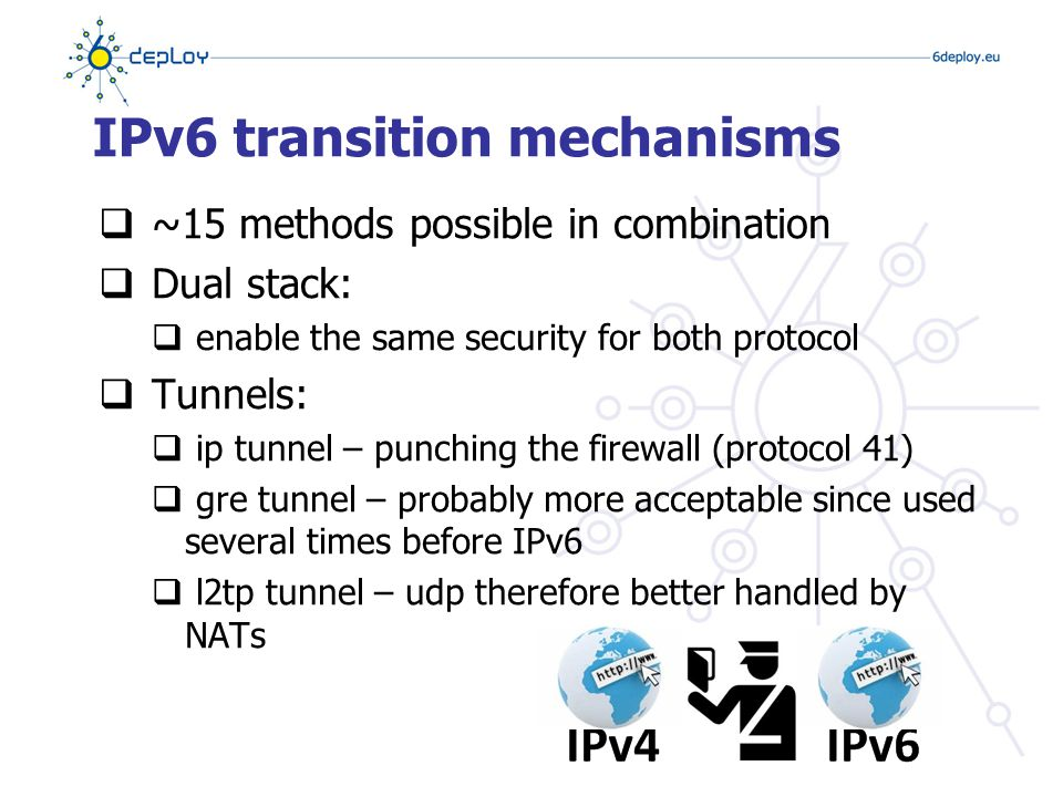 Firewalls  IPv6 architecture and firewall - requirements  No need to NAT – same level of security with IPv6 possible as with IPv4 (security and privacy)  Even better: e2e security with IPSec  Weaknesses of the packet filtering cannot be hidden by NAT  IPv6 does not require end-to-end connectivity, but provides end-to-end addressability  Support for IPv4/IPv6 transition and coexistence  Not breaking IPv4 security  Most firewalls are now IPv6-capable  Cisco ACL/PIX/ASA, Juniper NetScreen, CheckPoint  Modern OSes now provide IPv6 capable firewalls