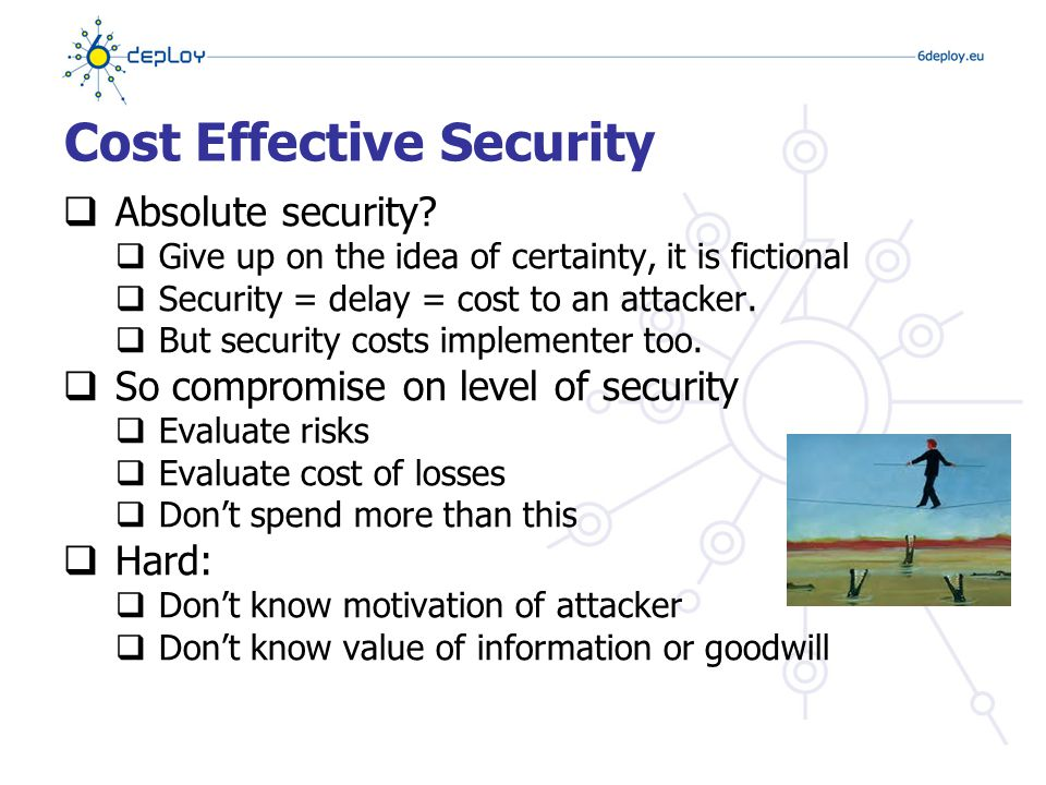Mechanisms for detecting and responding to attacks  Detect – get to know you're being attacked  Localise – determine what's being attacked  Identify – determine who the attacker is  Assess – why are they doing this.