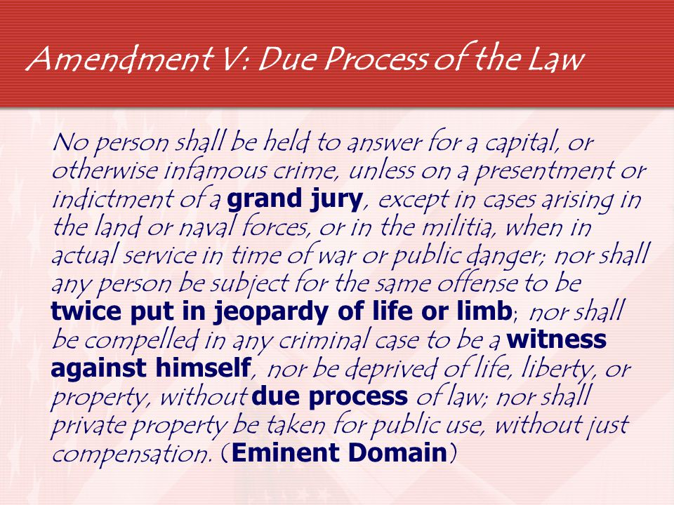Amendment VI: Right to a Fair Trial  In all criminal prosecutions, the accused shall enjoy the right to a speedy and public trial, by an impartial jury of the state and district wherein the crime shall have been committed, which district shall have been previously ascertained by law, and to be informed of the nature and cause of the accusation; to be confronted with the witnesses against him; to have compulsory process for obtaining witnesses in his favor, and to have the assistance of counsel for his defense.