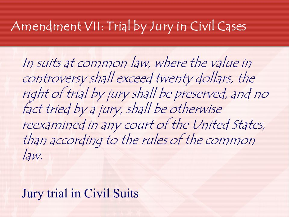 Amendment VIII: Cruel and Unusual Punishment  Excessive bail shall not be required, nor excessive fines imposed, nor cruel and unusual punishments inflicted.