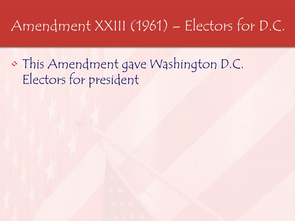 Amendment XXIV (1964) – Right to Vote This Amendment outlaws the practice of poll tax