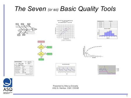 1 The Seven (or so) Basic Quality Tools Presented by Mike La Dolcetta ASQ Sr. Member, CQM, CSSGB.
