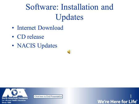 1 Click here to End Presentation Software: Installation and Updates Internet Download CD release NACIS Updates.