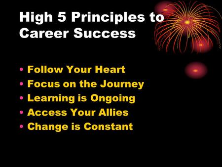 High 5 Principles to Career Success
