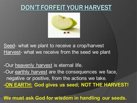 Seed- what we plant to receive a crop/harvest Harvest- what we receive from the seed we plant -Our heavenly harvest is eternal life. -Our earthly harvest.