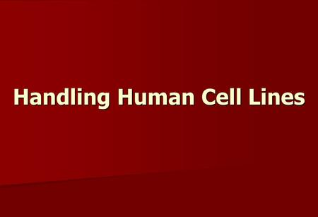 Handling Human Cell Lines. Human Cell Lines Human cell lines, either primary or established lines, are commonly used in biomedical research. Human cell.