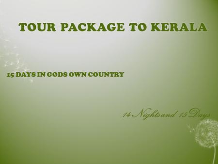 TOUR PACKAGE TO KERALATOUR PACKAGE TO KERALA 15 DAYS IN GODS OWN COUNTRY 14 Nights and 15Days.