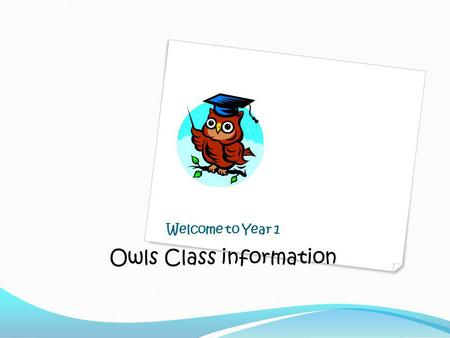Welcome to Year 1 Owls Class information. Who are we? Mrs Michelle Palmer – class teacher LSAs – Mrs Sarah Horton, Mrs Ruth Fountain, Mr Greg Tompkins,