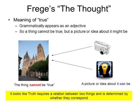 Freges The Thought Meaning of true –Grammatically appears as an adjective –So a thing cannot be true, but a picture or idea about it might be The thing.