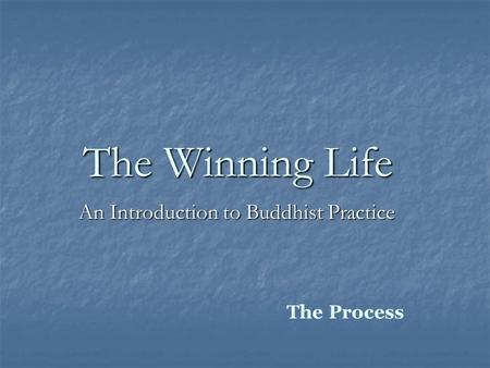 The Winning Life An Introduction to Buddhist Practice The Process.