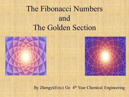 The Fibonacci Numbers and The Golden Section By Zhengyi(Eric) Ge 4 th Year Chemical Engineering.