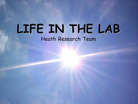LIFE IN THE LAB LIFE IN THE LAB Heath Research Team.