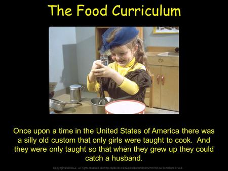 Copyright 2006 DLA. All rights reserved see  for our conditions of use. The Food Curriculum Once upon a.