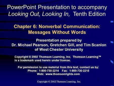 Chapter 6: Nonverbal Communication: Messages Without Words