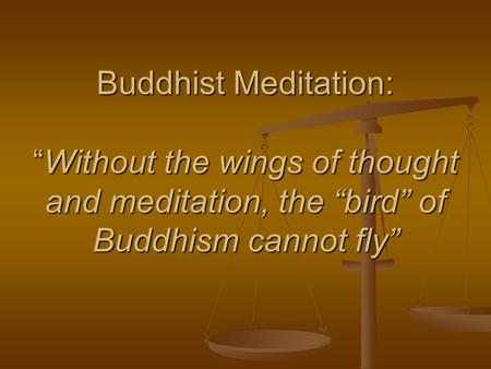 Buddhist Meditation:Without the wings of thought and meditation, the bird of Buddhism cannot fly.