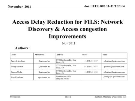 Doc.:IEEE 802.11-11/1523r4 Submission November 2011 Access Delay Reduction for FILS: Network Discovery & Access congestion Improvements Slide 1 Authors: