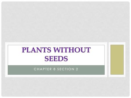 Plants Without Seeds Chapter 8 Section 2.