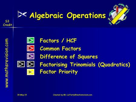 Algebraic Operations Factors / HCF Common Factors