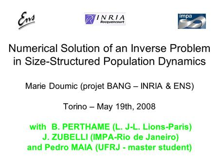 Numerical Solution of an Inverse Problem in Size-Structured Population Dynamics Marie Doumic (projet BANG – INRIA & ENS) Torino – May 19th, 2008 with B.
