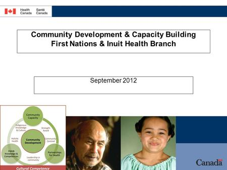 Community Development & Capacity Building First Nations & Inuit Health Branch September 2012.