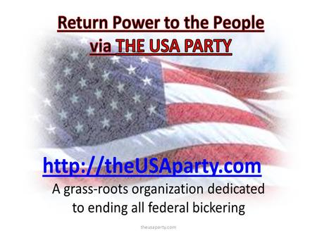 Theusaparty.com. The USA Party   1.Who is the USA Party 2.Who are the USA Partys base 3.Special Interest Groups.