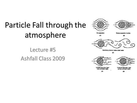 Particle Fall through the atmosphere Lecture #5 Ashfall Class 2009.