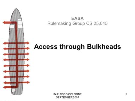 34 th CSSG COLOGNE SEPTEMBER 2007 1 EASA Rulemaking Group CS 25.045 Access through Bulkheads.