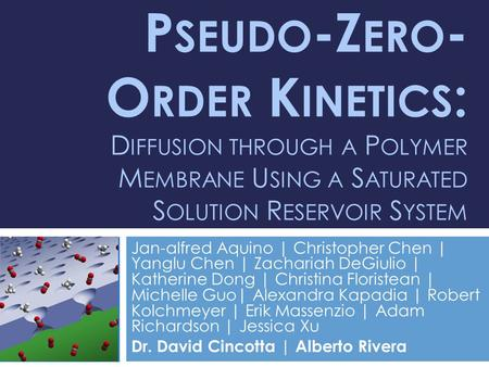 P SEUDO -Z ERO - O RDER K INETICS : D IFFUSION THROUGH A P OLYMER M EMBRANE U SING A S ATURATED S OLUTION R ESERVOIR S YSTEM Jan-alfred Aquino | Christopher.